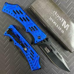 """MTECH USA MT-A932BL SPRING ASSISTED KNIFE 5"""" CLOSED BLUE ALU"""