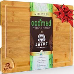 EXTRA LARGE Organic Bamboo Cutting Board with Juice Groove -