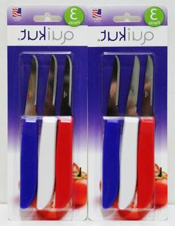 6x QUIKUT Paring Knives Knife Stainless Steel MADE IN USA
