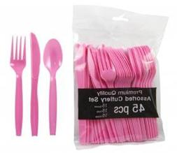 Hot Pink Party Supplies - Plastic Spoon Fork Knife Utensil C