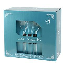 180 Piece Plastic Cutlery, Crystal Disposable Flatware Extra
