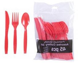Red Party Supplies - Plastic Spoon Fork Knife Utensil Combo