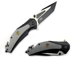 S.W.A.T Tactical Assisted Open Rescue Folding Knife w/ Belt