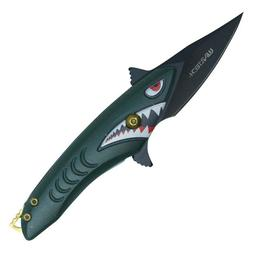 small assisted green shark pocket knife 5