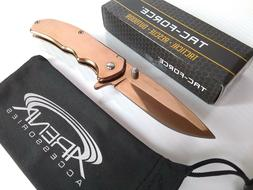 Small Lightweight Flipper Pocket Knife Spring Assisted Coppe