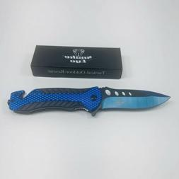 Snake Eye Tactical 2 Tone Blue and Black Heavy Duty Folding