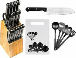 29 Pc Stainless Steel Kitchen Knives or Knife Set w/ Block &