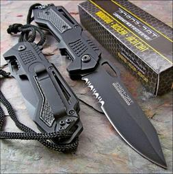 TAC FORCE Spring Assisted Opening Black Tactical Rescue Fold