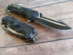 Tactical Black Paracord  Pocket Knife Camping Stainless Stee