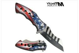 "MTech USA American Flag 3.5"" Blade Spring Assisted Knife Thu"