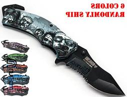 Unishow Walking Dead Zombie Knife with Artwork - Assort Colo