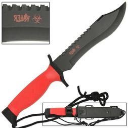 Zombie Killer Bloody Red Survival Bowie Fixed Blade Knife