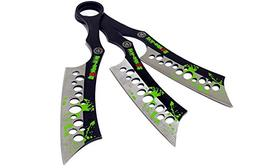 Defender All Black Throwing Knives with Sheath  Set of 3 Zom